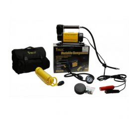 Portable T-Max Air Compressor With coiled air line and guage Car Battery Operated - Standard