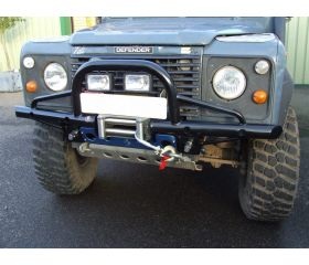 Defender Shadow Tubular Winch Bumper with 'A' Bar & Swivel Recovery Eyes