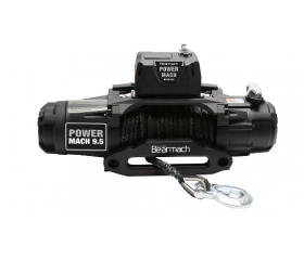 Bearmach Power Mach 9,500lb 12v Two Speed Winch with 9mmx27m Synthetic Rope & Wireless Remote - 9,500